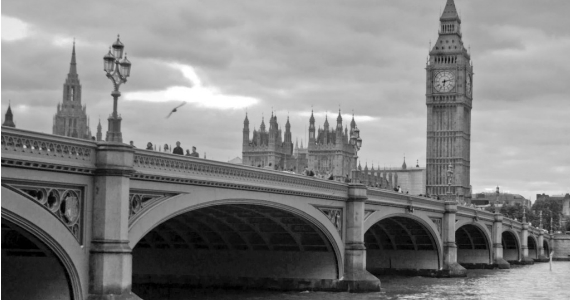 Black and white image of Westminster bridge