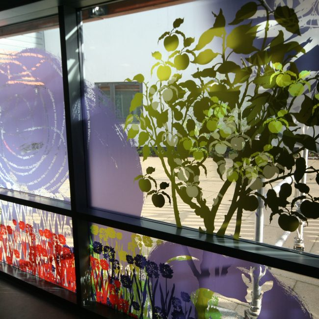 Window with graphics manifested onto it