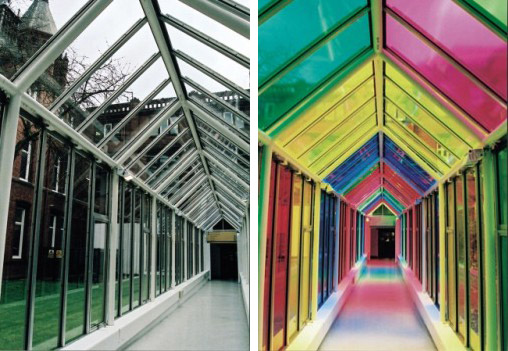 Side by side picture of a corridor. One has multi coloured window film.